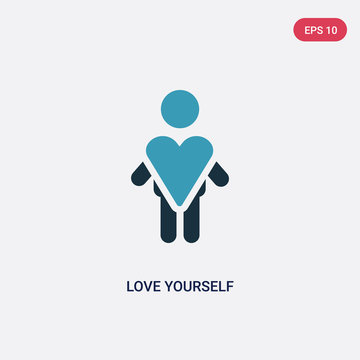 two color love yourself vector icon from people concept. isolated blue love yourself vector sign symbol can be use for web, mobile and logo. eps 10