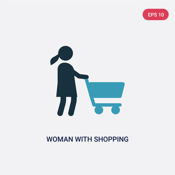 two color woman with shopping cart vector icon from people concept. isolated blue woman with shopping cart vector sign symbol can be use for web, mobile and logo. eps 10