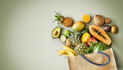 Panorama of fresh juicy tropical fruit