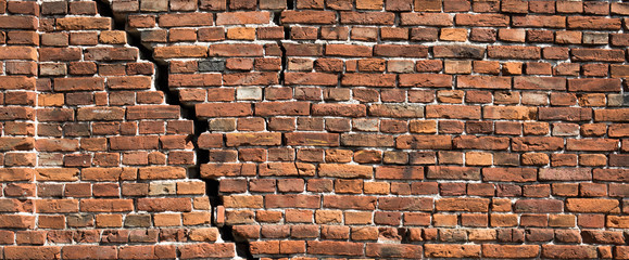 Red brick wall texture for background, Old red brick wall damaged background