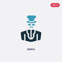two color mafia vector icon from professions concept. isolated blue mafia vector sign symbol can be use for web, mobile and logo. eps 10