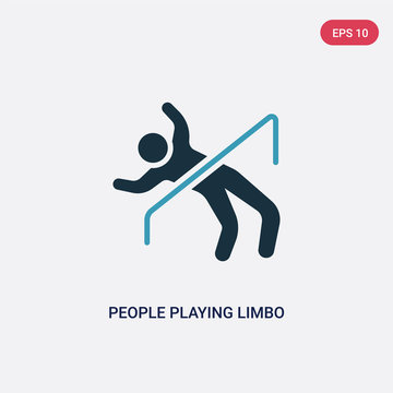 two color people playing limbo vector icon from recreational games concept. isolated blue people playing limbo vector sign symbol can be use for web, mobile and logo. eps 10