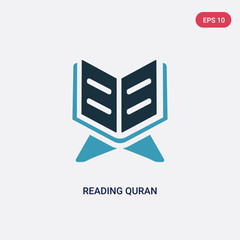 two color reading quran vector icon from religion concept. isolated blue reading quran vector sign symbol can be use for web, mobile and logo. eps 10
