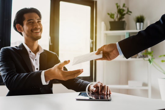 Businessman get bonus and salary from manager, Outstanding employee