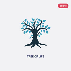 two color tree of life vector icon from religion concept. isolated blue tree of life vector sign symbol can be use for web, mobile and logo. eps 10