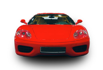 Luxury Italian supercar. White background. Front View.