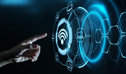 Obraz Wireless WiFi Network Signal Technology Internet Concept - fototapety do salonu