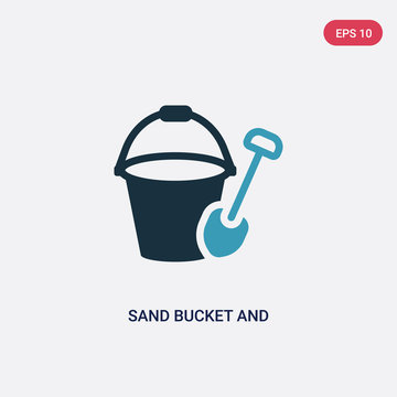 two color sand bucket and shovel vector icon from summer concept. isolated blue sand bucket and shovel vector sign symbol can be use for web, mobile and logo. eps 10
