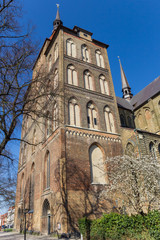 Fotomurales - Front of the Marienkirche church in Rostock, Germany