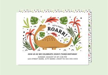 Dinosaur Party Invitation Layout with Graphic Illustrations
