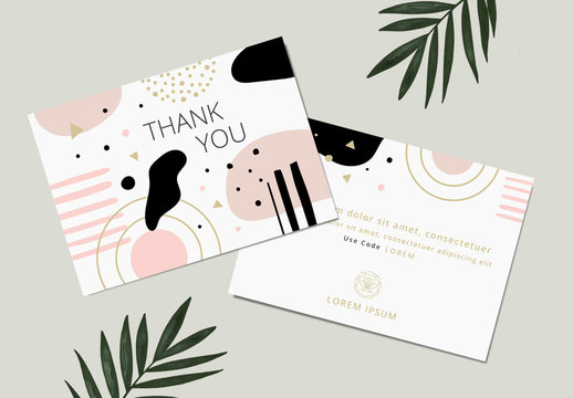 Beauty Thank You Card Layout with Graphic Gold and Pink Elements