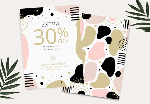 Sale Card Advertisement Layout with Graphic Gold and Pink Elements