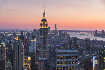 Wall Murals New York Top view of New york city in sunset time with building of city and river, New york, USA, United states of America