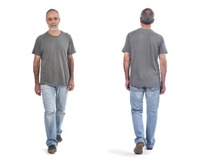 Man front and back walking on white background