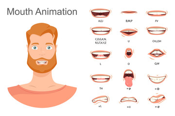 Men's lip sync. Lip sync collection for animation. Men's mouth animation. Phoneme mouth chart. Alphabet pronunciation. Vector illustration.