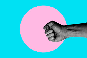 Isolated on blue background black and white man hand photo on pink circle. Surrealistic collage style, contemporary art element for design, posters and banners. Cotton candy pop colors. Magazine style
