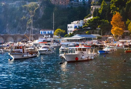 Tourist boats in Sorrento marina, Amalfi Coast, Italy