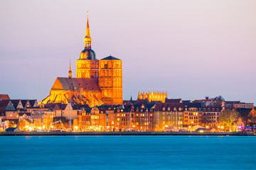 Classic panoramic view of the hanseatic city of Stralsund during blue hour at dusk, Mecklenburg-Vorpommern, Germany Wall mural