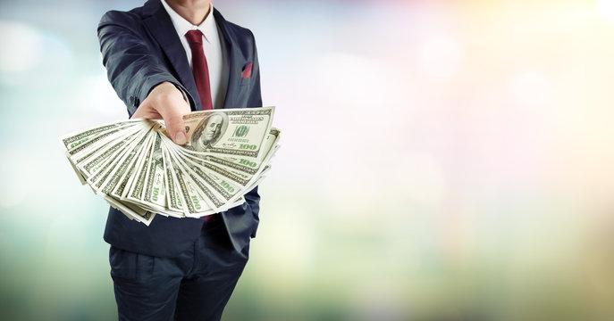 Businessman Give Dollars Cash - Banking Loan