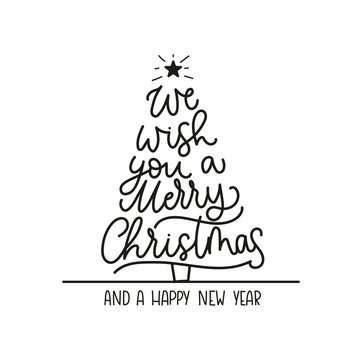 We wish you a merry Christmas and a Happy New Year greeting card with lettering and Christmas tree. Trendy Christmas and New Year print for greeting cards, posters, textile etc. Vector illustration