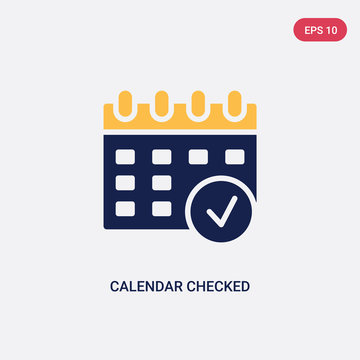 two color calendar checked vector icon from ultimate glyphicons concept. isolated blue calendar checked vector sign symbol can be use for web, mobile and logo. eps 10