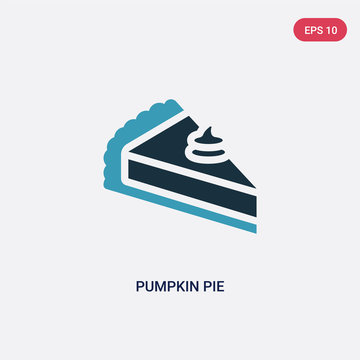 two color pumpkin pie vector icon from united states of america concept. isolated blue pumpkin pie vector sign symbol can be use for web, mobile and logo. eps 10