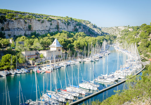 Turquoise water of Calanque Port Miou, near Cassis