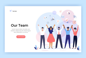 Group of people making high hands, business team concept illustration, perfect for web design, banner, mobile app, landing page, vector flat design Wall mural