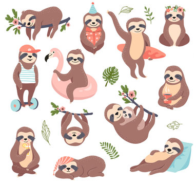 Cute sloth set, funny vector illustration for print, posters, sticker kit.