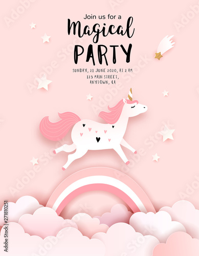 Unicorn Birthday Invitation Template Welcome Baby Greeting Card