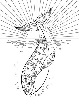 Sea doodle coloring book page