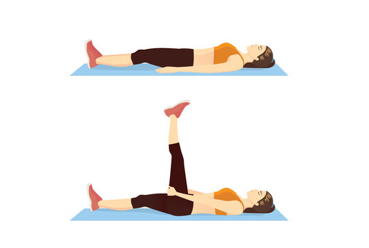 Woman doing Exercise with Hamstring Stretch for back and leg Muscle Relaxation. Illustration about exercise diagram.