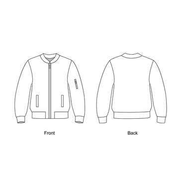 jacket with zip pockets in front technical drawing vector