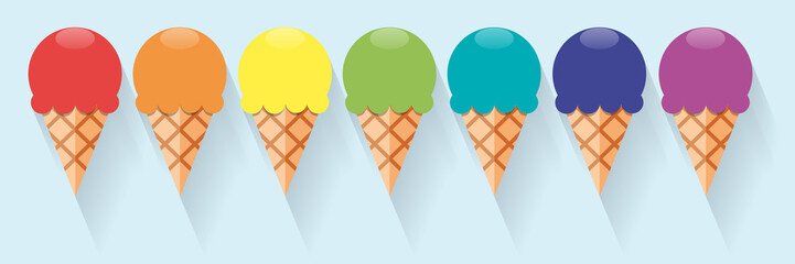 Vector abstract ice cream in rainbow, summer banner and background