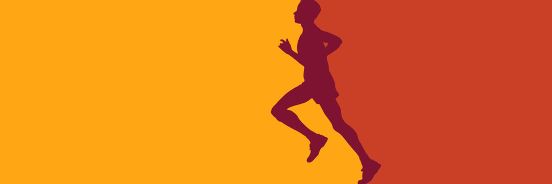 Vector abstract runner and personal trainer. illustration for banner or background