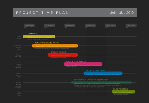 Dark Project Plan Timeline Layout with Colorful Bars