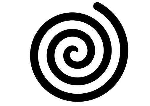black spiral swirl on white