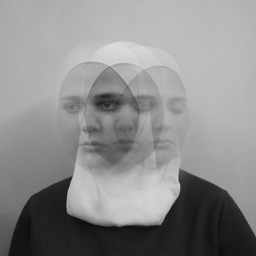 Double exposure  face of woman