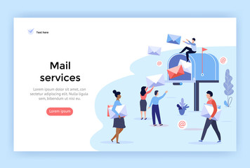 Mail service and correspondence delivery concept illustration, perfect for web design, banner, mobile app, landing page, vector flat design