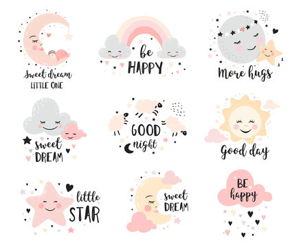 Cute posters with moon, stars, clouds. Vector prints for baby room, baby shower, greeting card, kids and baby t-shirts and wear. Hand drawn nursery illustration