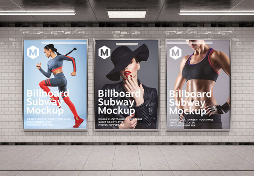 3 Vertical Billboards in Subway Station Mockup