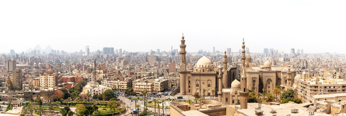 Foto op Canvas Afrika Panorama of Cairo, view on Mosque-Madrassa of Sultan Hassan