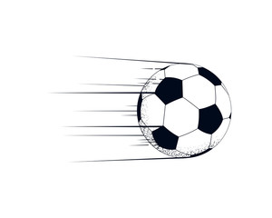 Flying soccer ball with motion lines. Powerful kick. Vector illustration