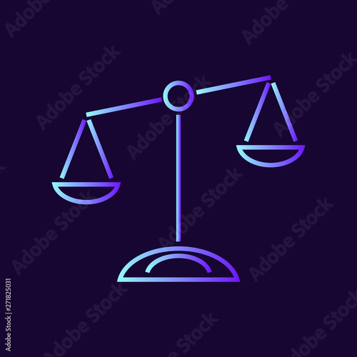 Scales of justice vector icon on dark background