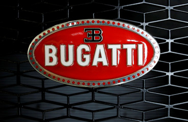 The Bugatti logo is seen on a Bugatti Chiron sports car in Molsheim