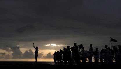 Sri Lanka's navy band performs during the commissioning handover ceremony of the P 626 ship by U.S. at the main port in Colombo