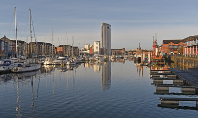 Swansea Marina housing, featuring the tallest building in Wales, the Meridian tower, standing at 107m (351ft).