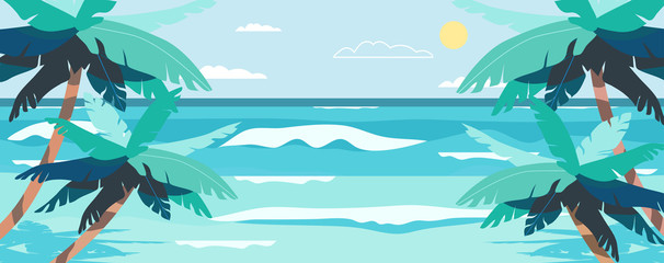 Papiers peints Turquoise Vector illustration of a beach and a sea coast landscape. Creative summer banner or landing page for tour operator or travel agency. Summer theme background.