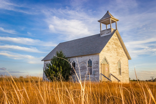 Hays, KS USA - Abandoned Wooden Church Building