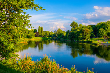 Warsaw, Poland - Panoramic view of the Szczesliwicki Park - one of the largest public parks in Warsaw - in the western part of the Ochota district